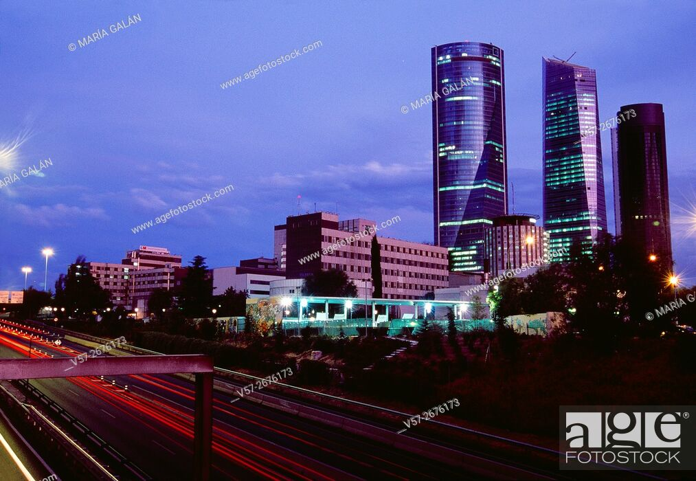 Stock Photo: M-30 motorway and Four Towers, night view. Madrid, Spain.