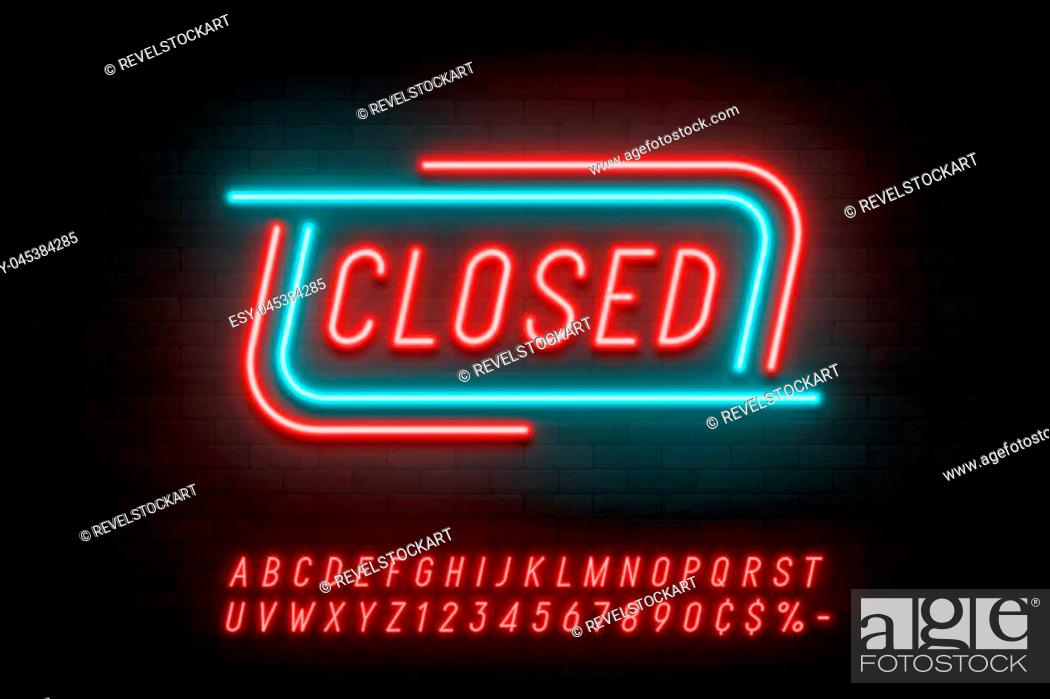 Stock Vector: Neon light linear promotion ribbon banner, price tag, discount. Swatch color control.