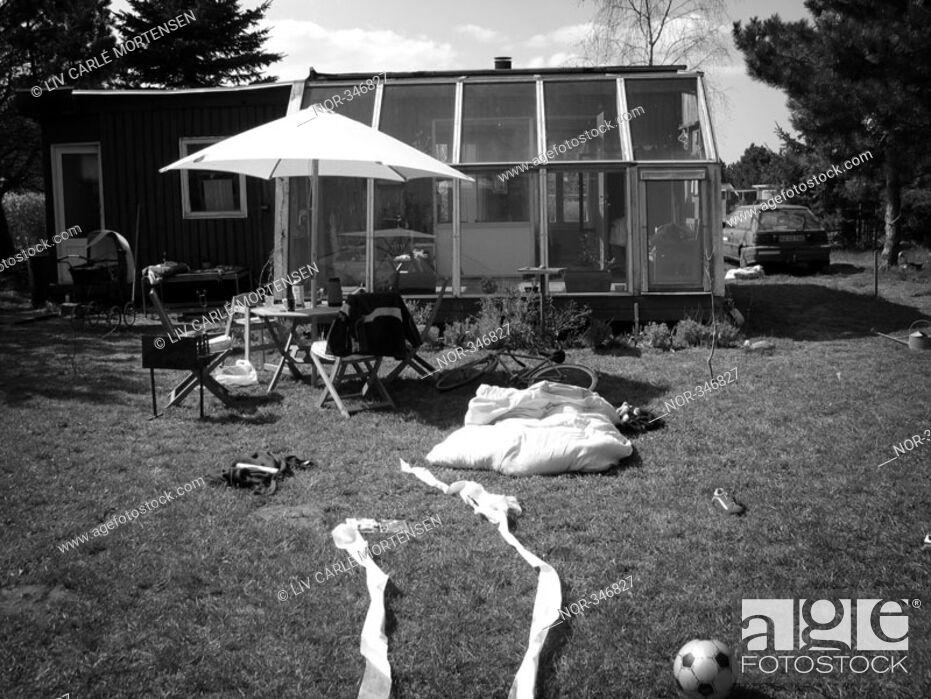 Stock Photo: Backyard of a cottage.