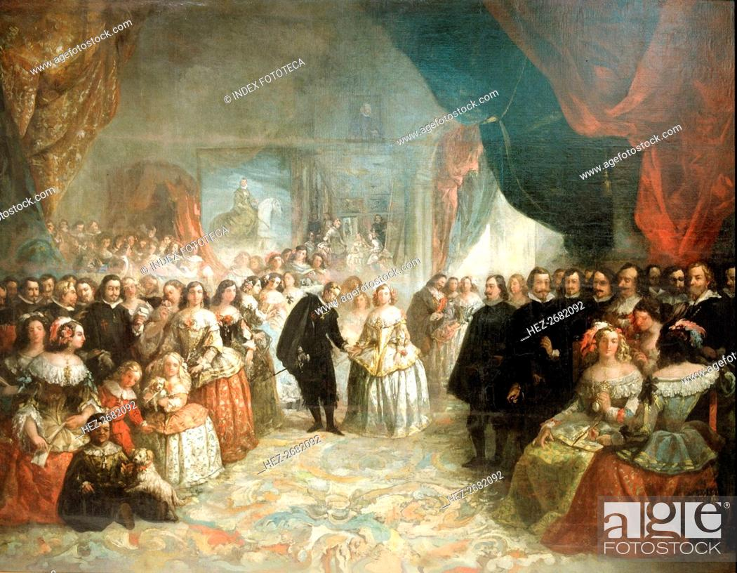 Stock Photo: Philip IV, his court and the Meninas' detail, oil by Eugenio Lucas, 1858.