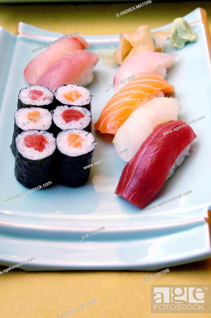 Stock Photo: A variety of Sushi Sashimi and Rolls.