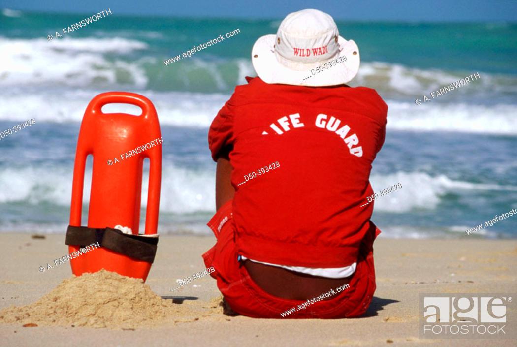 Stock Photo: Life Guard on beach. Dubai, UAE (United Arab Emirates).