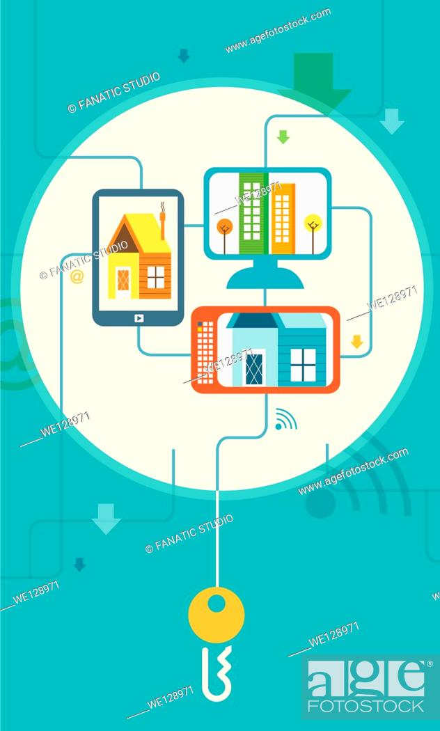 Stock Vector: Illustrative image of buildings on screens representing online property hunting.