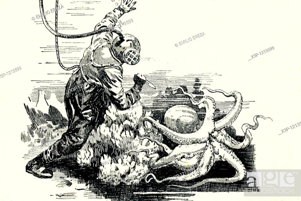 Stock Photo: Diver fighting against an octopus  Antique illustration  1933.