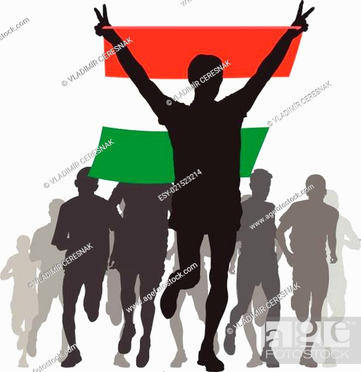 Stock Vector: Athlete with the Hungary flag at the finish.