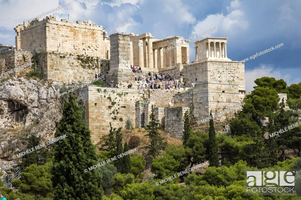 Stock Photo: The Propylaea of the Acropolis of Athens with the temple of Athena Nike on the upper right side. Athens, Greece.