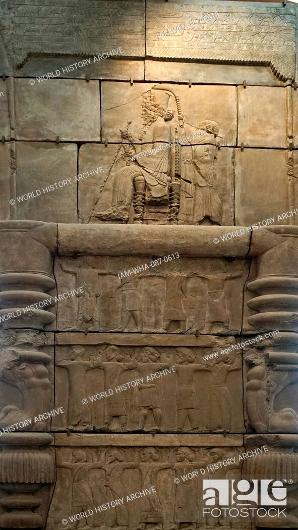 Stock Photo: Cast of palace doorway from Persepolis, Iran, circa 470-450 BC. Depicts an ancient Persian ruler (probably Xerxes) seated on a throne.