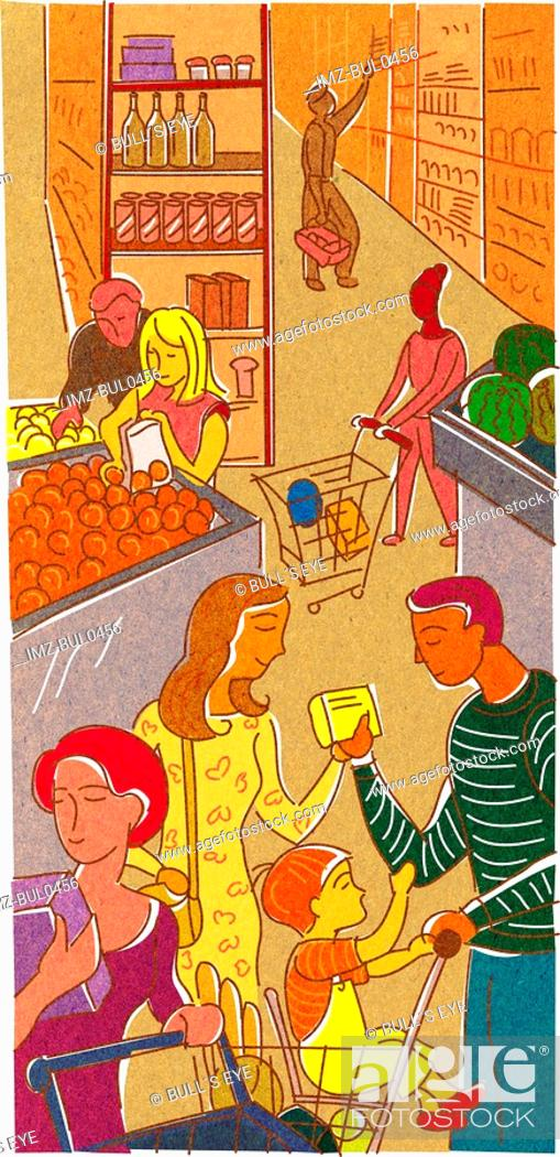 Stock Photo: A family at the supermarket.