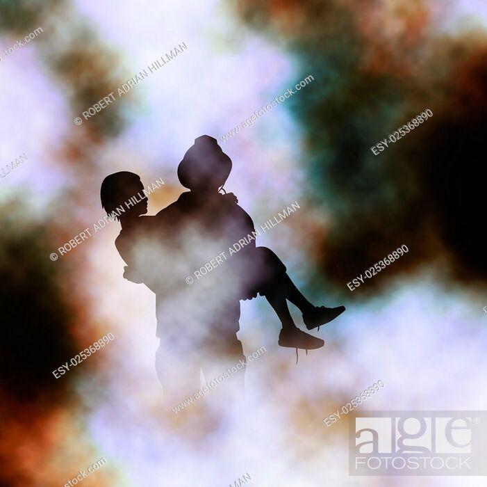 Stock Vector: Vector illustration of firefighter rescuing a girl from a fire created using a gradient mesh.