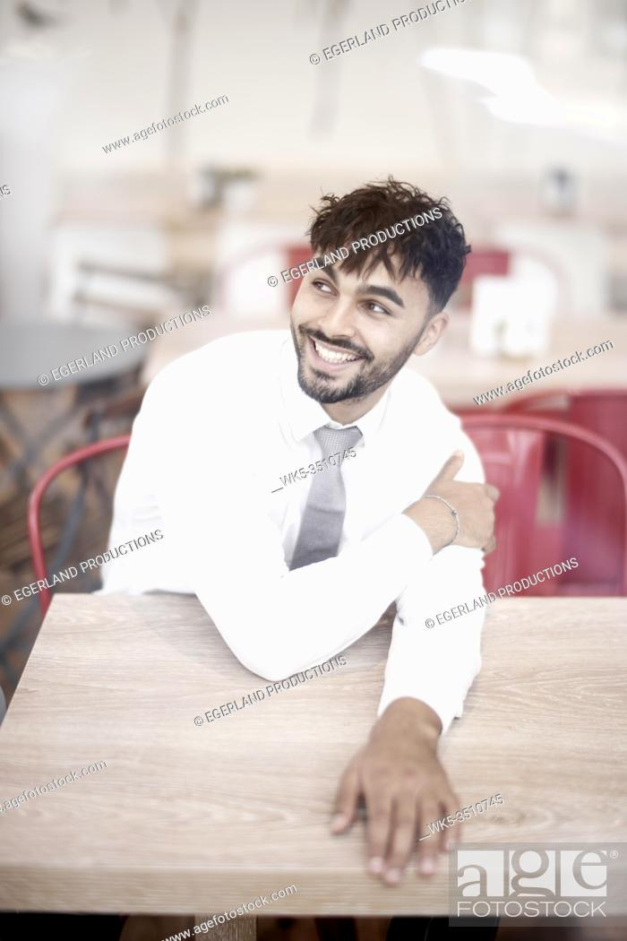 Stock Photo: Businessman in cafe.