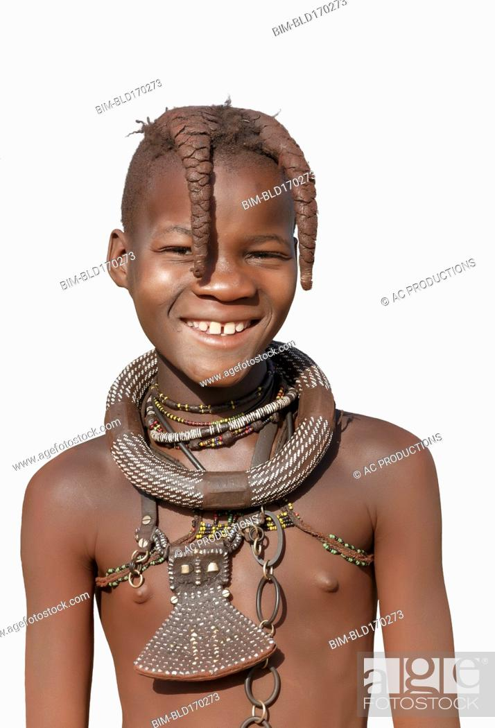 Photo de stock: Black girl wearing traditional necklace.