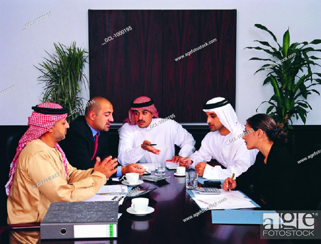Stock Photo: Arab business meeting  in a conference room.