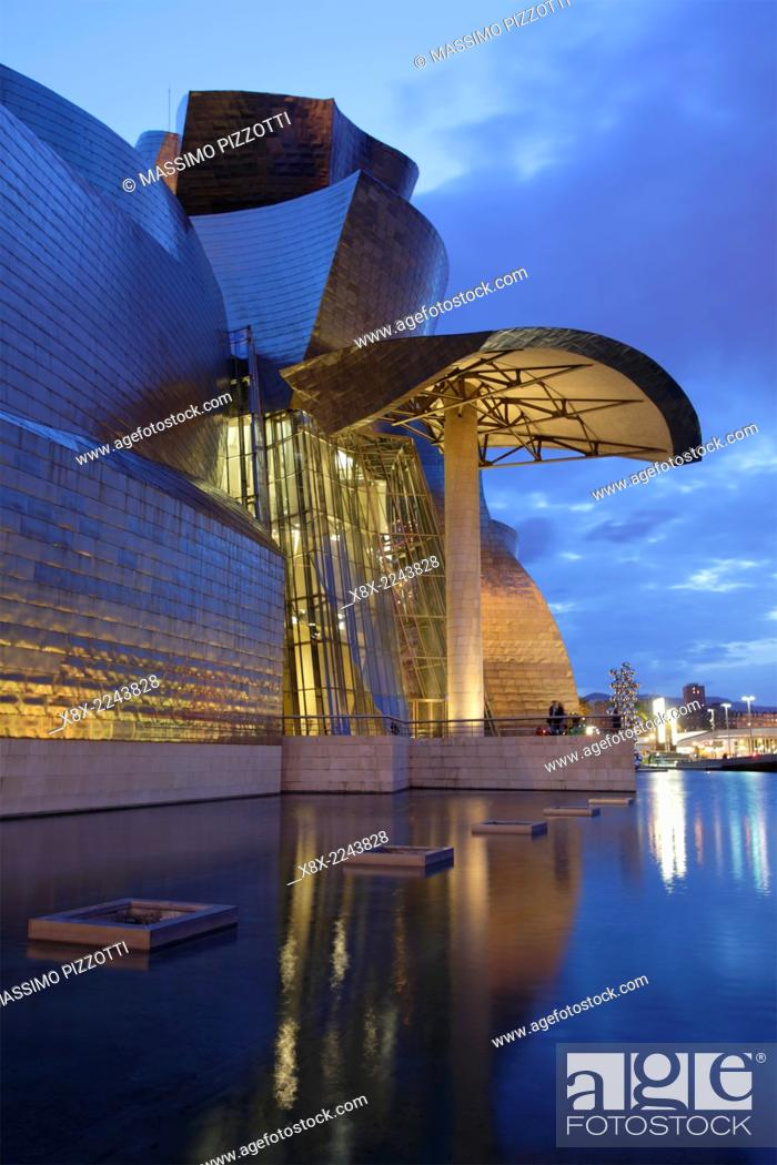 Stock Photo: The modern architecture of Guggenheim Museum, Bilbao, Spain.