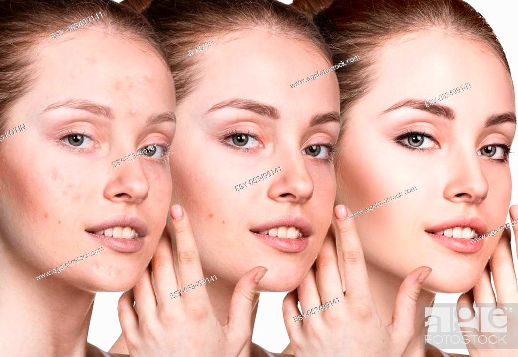 Imagen: Young woman applying make-up step by step. Before and after make-up.
