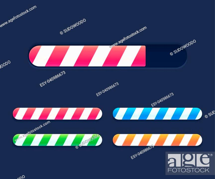 Stock Vector: Progress loading bars set, striped interface elements. Bright vector preloaders.