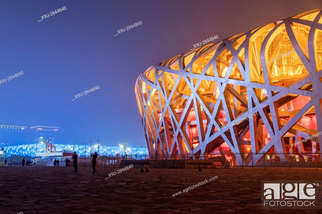 Stock Photo: National Stadium at dusk, Olympic Park Beijing, People's Republic of China, Asia.