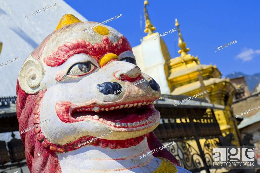 Imagen: Lion Sculpture, Swayambhunath Temple, Monkey Temple, UNESCO World Heritage Siite, Kathmandu, Nepal, Asia.