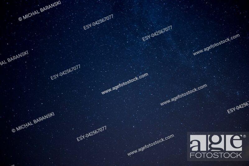 Stock Photo: real photo of night sky full of stars over the northern hemisphere.