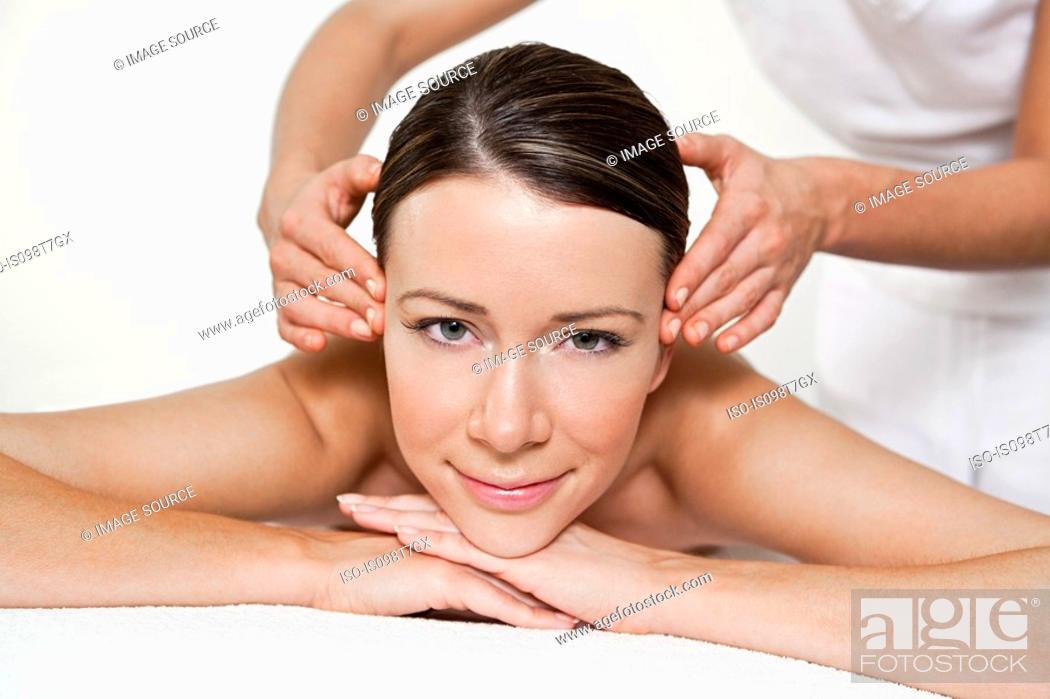 Stock Photo: Woman having face massage.