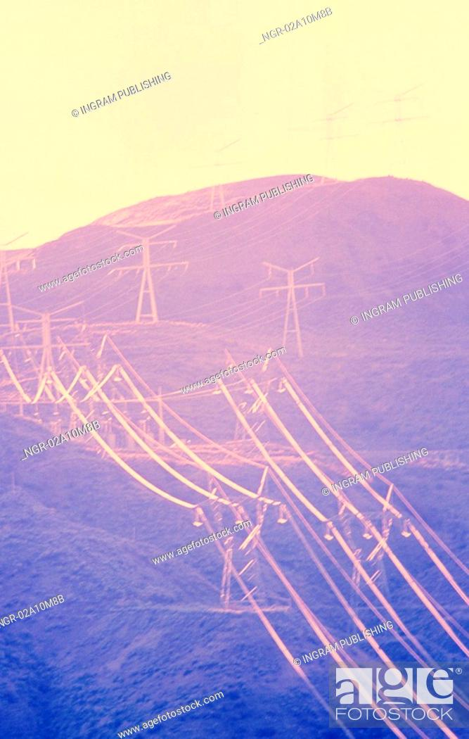 Stock Photo: Hillside of Electric Power Towers.