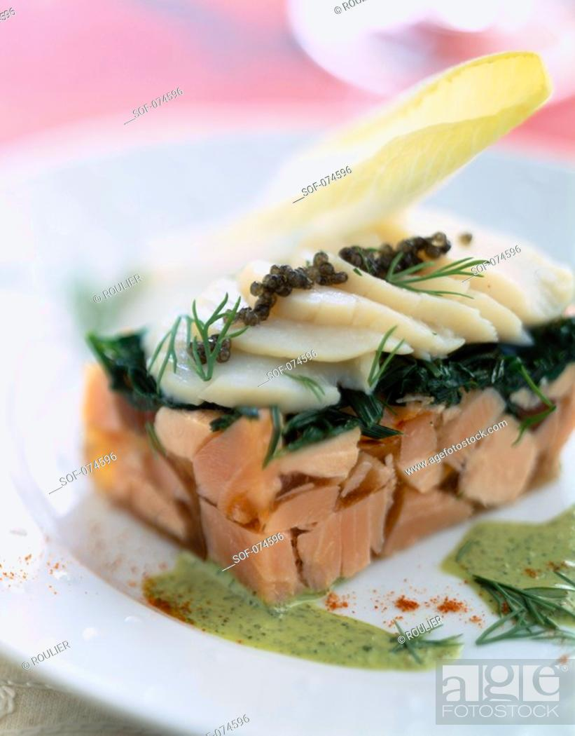 Stock Photo: Fish terrine with scallops.