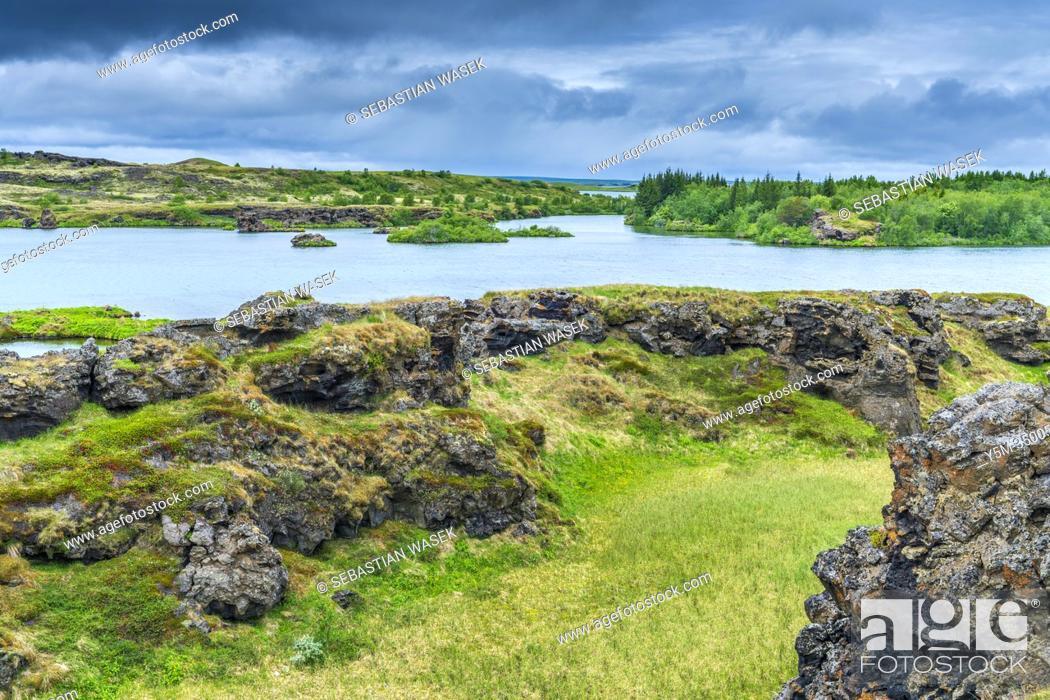 Stock Photo: Lake Myvatn panoramic point, Northwestern Region, Iceland.