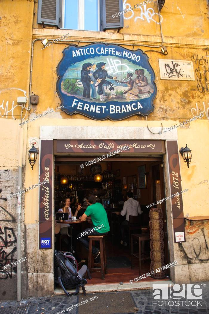 Stock Photo: Old Cafe del Moro Antico Caffe del Moro, Trastevere, Rome, Lazio, Italy.