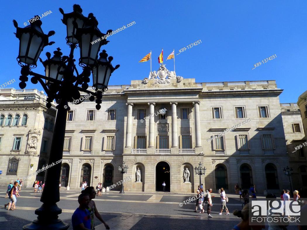 Stock Photo: Ajuntament City Hall. Barcelona. Catalunya. Spain.