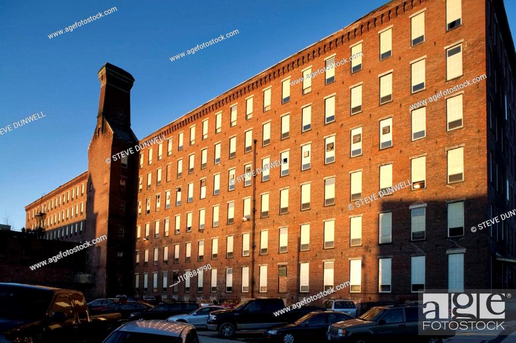 Stock Photo: Amoskeag mill (Pandora), Manchester, New Hampshire, USA.