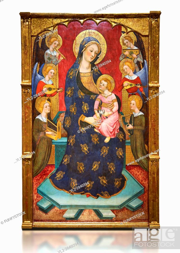 Stock Photo: Gothic painted Panel Virgin of the Angels by Pere Serra. Tempera and gold leaf on wood. Circa 1385. 195. 8 x 131 x 11 cm.