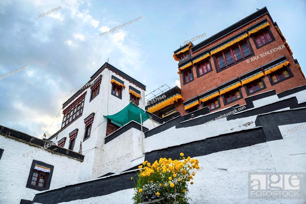 Stock Photo: Monks buildings in Thicksay gompa, Ladakh, India.