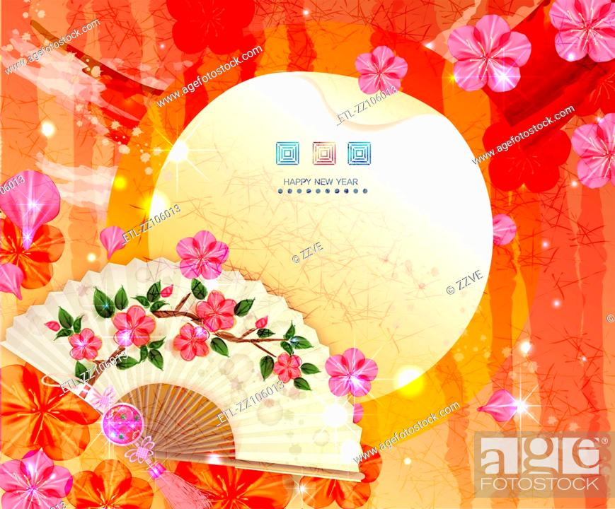 Stock Photo: Chinese New Year Greeting Card with fan and flora Design.