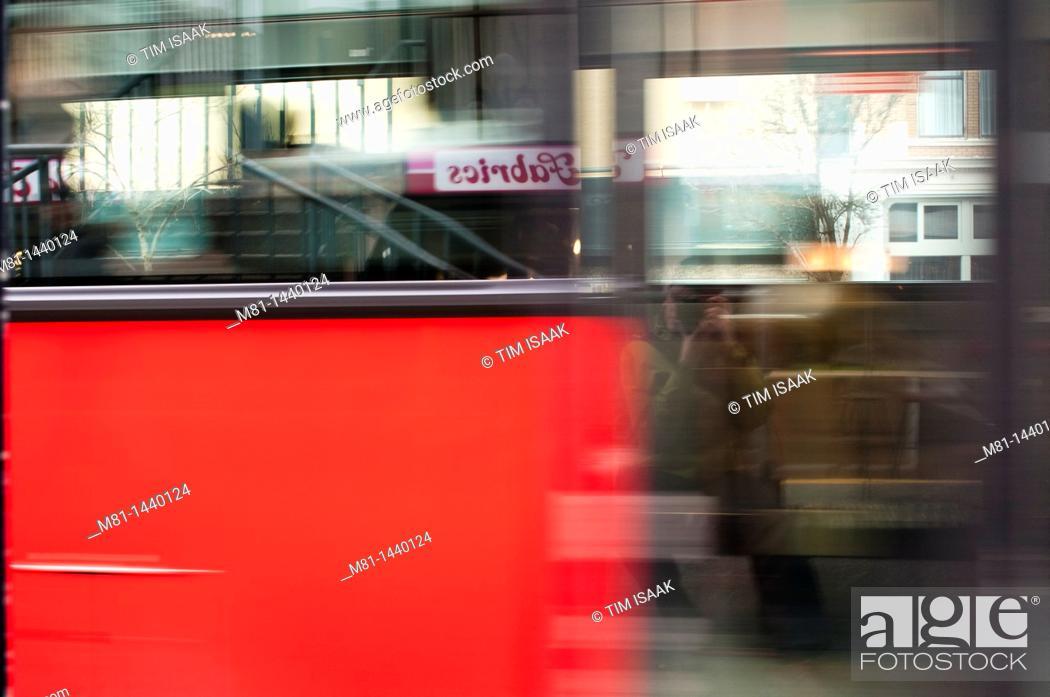 Stock Photo: Passing transit bus, Victoria, British columbia, canada.