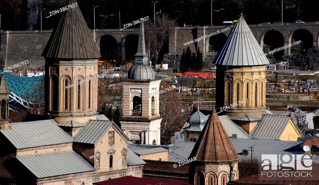 Stock Photo: Churches and domes of Tbilisi, view to historical part of the capital of Republic of Georgia.