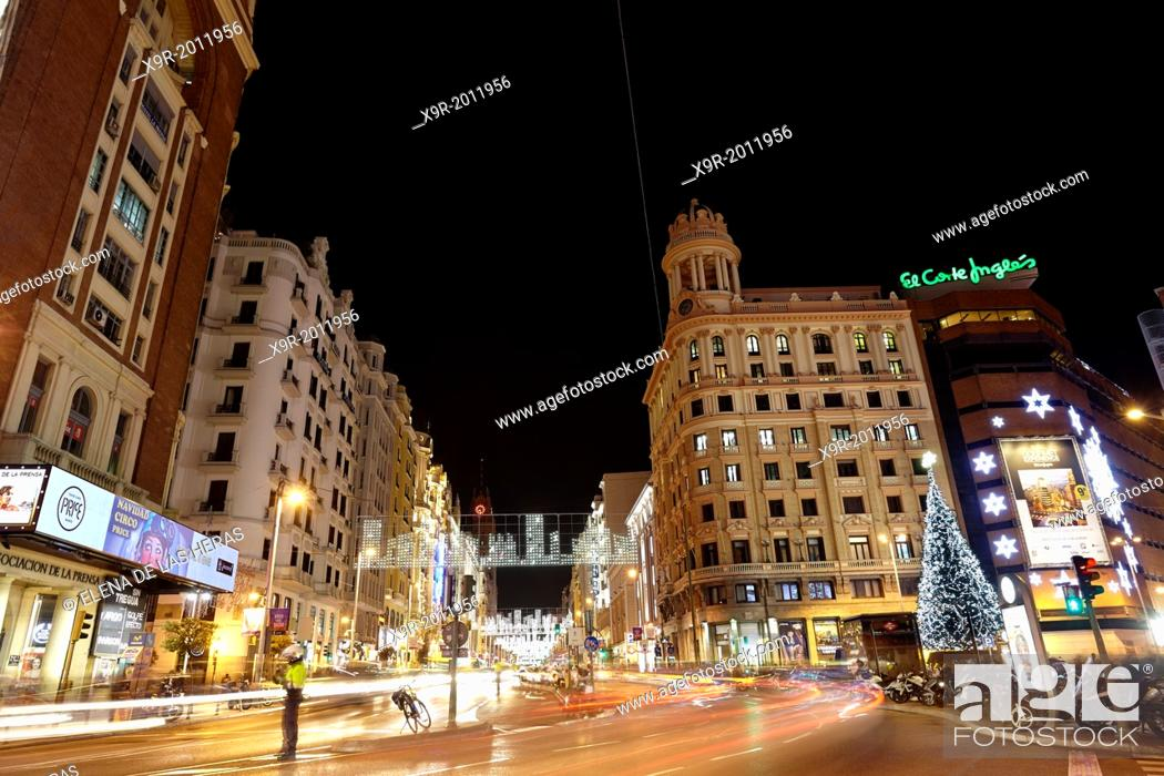 Stock Photo: Traffic at Gran via street with lights trails effect at Christmas time. Madrid. Spain. Madrid. Spain.