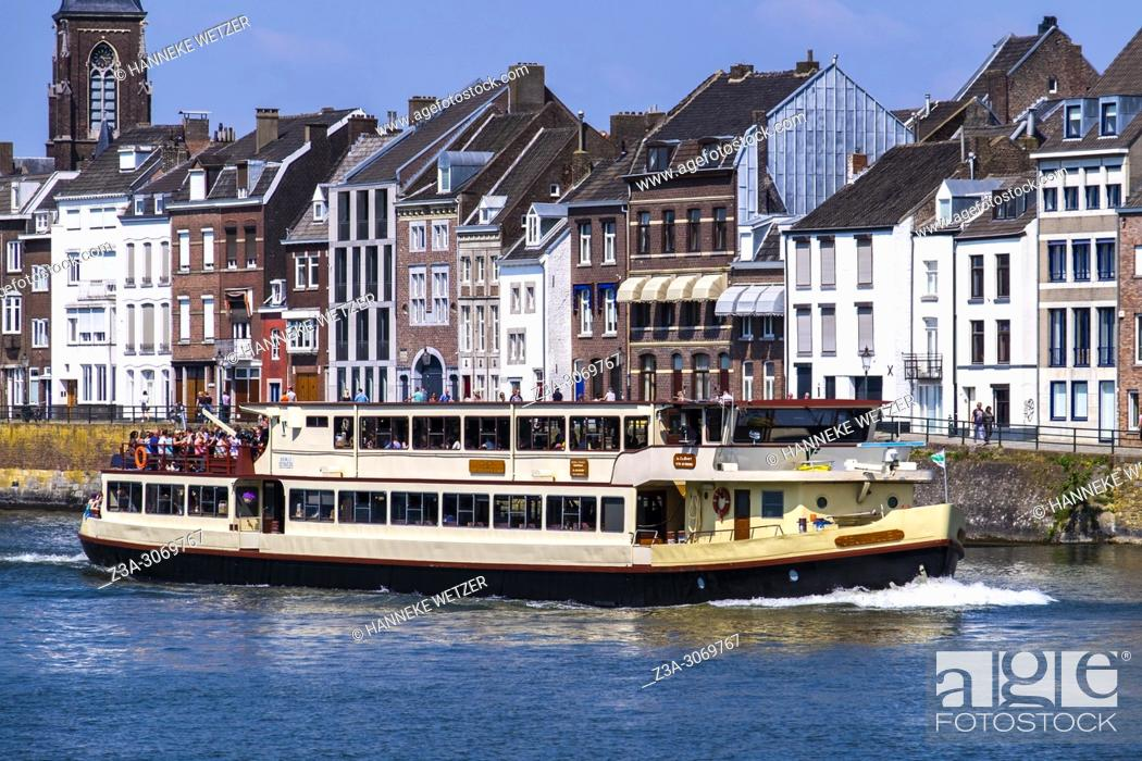 Stock Photo: Ship over the river Maas in Maastricht, Limburg, The Netherlands, Europe.