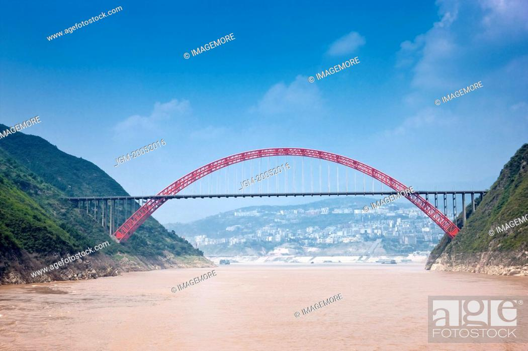 Stock Photo: Wu Gorge Bridge on Yangtze River, Wu Gorge, Three Gorges in Yangtze River, China.