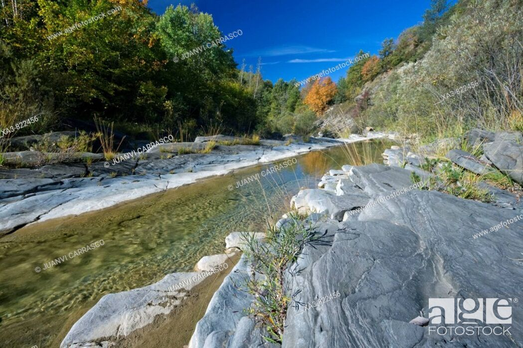 Stock Photo: River at El Chate valley, Huesca province, Aragon, Spanish pyrenees.