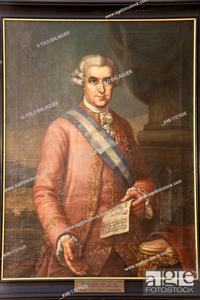 Stock Photo: Jose de Galvez y Gallardo, Marquis de Sonora, Visitor and Minister of Indian 1720-1787, Oil on canvas, Junipero Serra Museum, Petra, Mallorca, Balearic Islands.