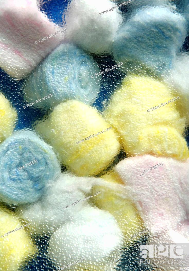 Stock Photo: Cotton wool color balls texture.