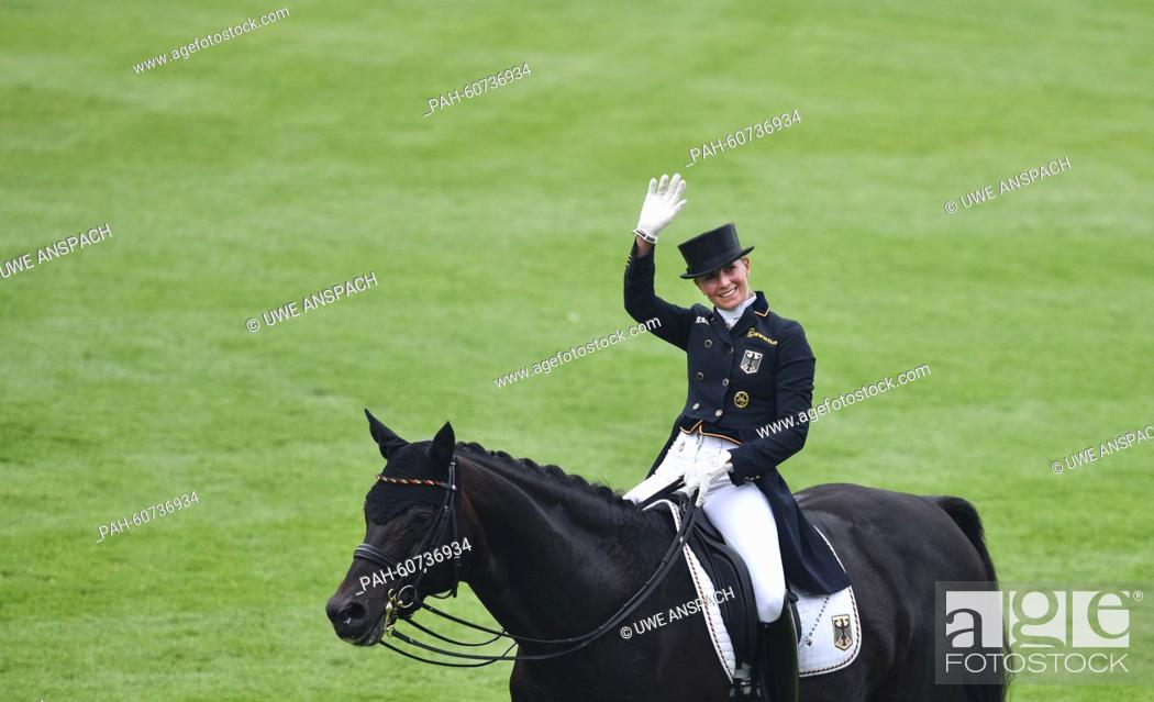 Jessica von Bredow-Werndl of Germany gestures on her horse
