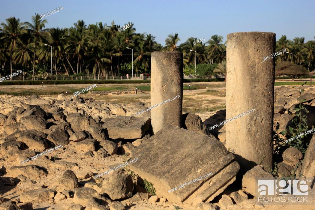 Stock Photo: Settlement remains of the city and incense port of Al-Baleed, UNESCO World Heritage Site, Salalah, Oman, Arabian Peninsula, Middle East, Asia.