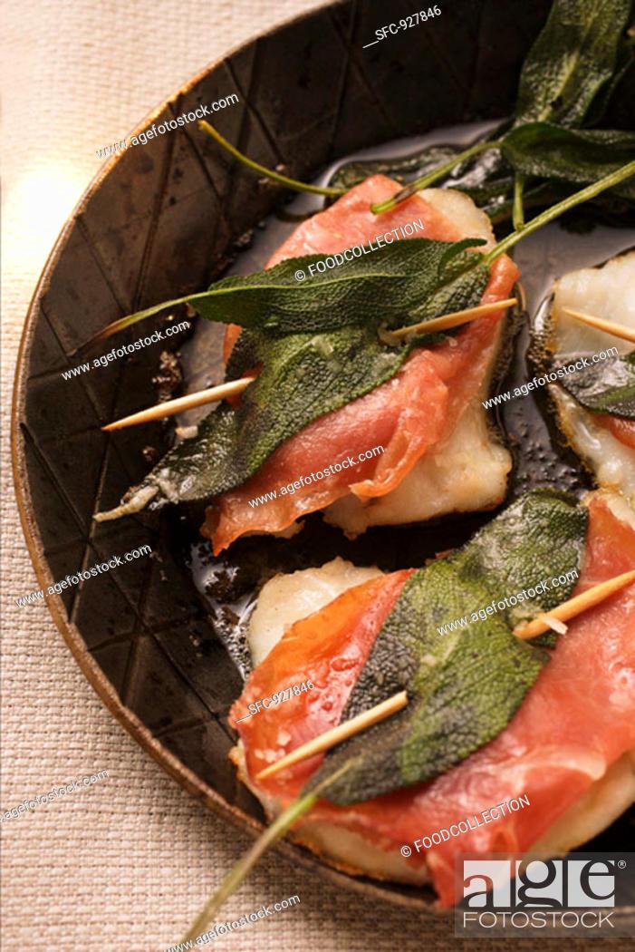Stock Photo: Saltimbocca in frying pan.