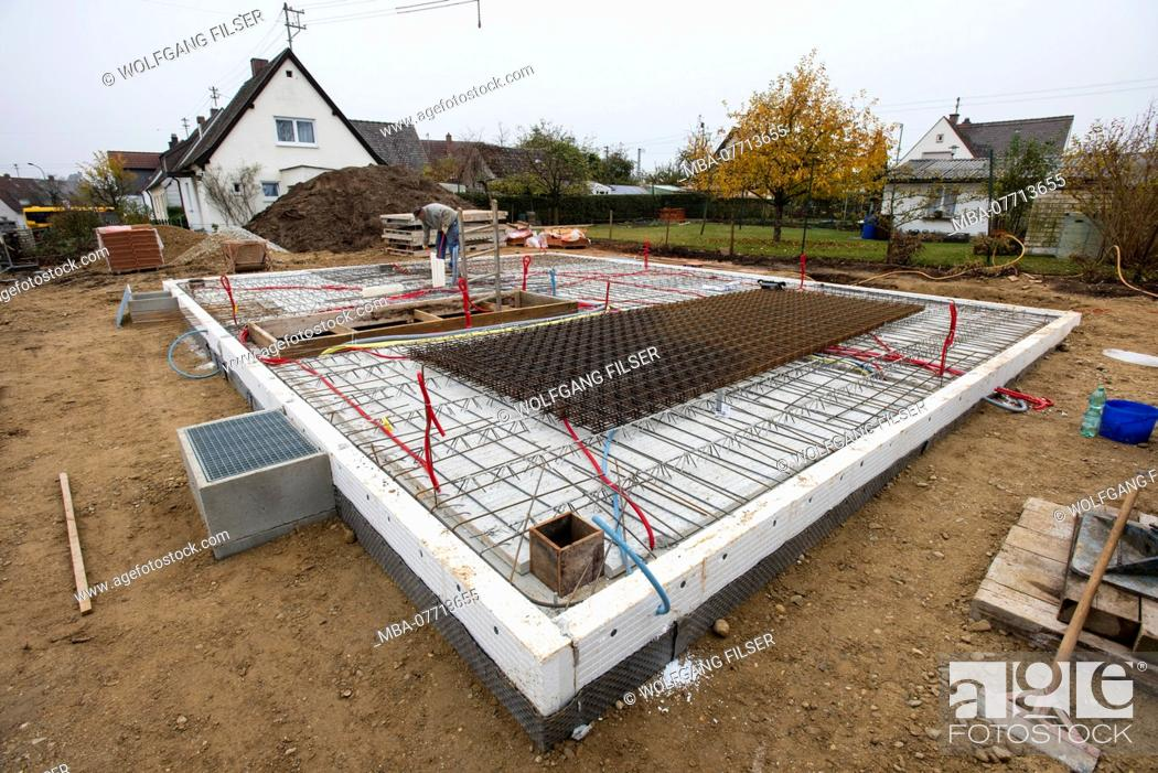 Stock Photo: concrete casting of a foundation or ceiling for a new building.
