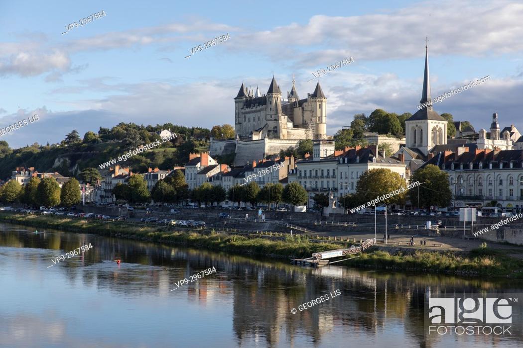 Stock Photo: Loire river at historic Château de Saumur, Maine-et-Loire, Pays de la Loire, France.
