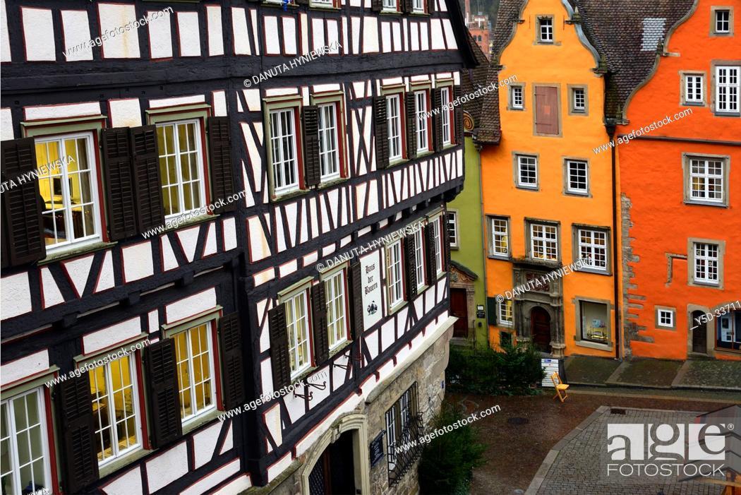 Stock Photo: Traditional architecture with half-timbered house on left, Marktplatz, historic part of Schwäbisch Hall, Schwäbisch Hall, Baden-Württemberg, Germany, Europe.