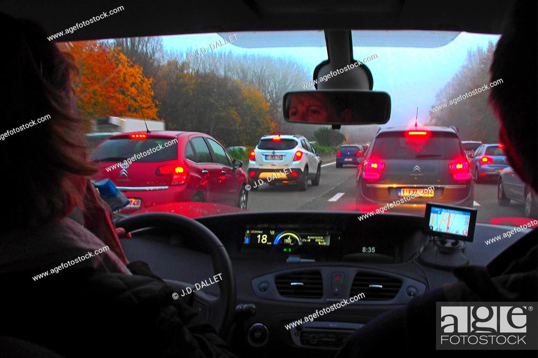 Stock Photo: On the ring highway around Brussels, Belgium.