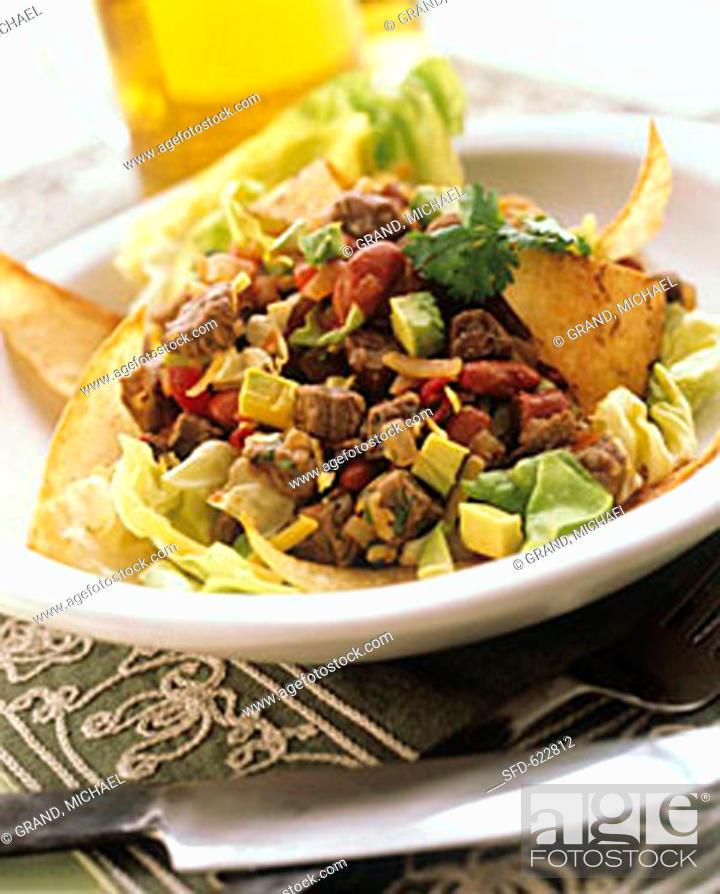Stock Photo: Chili Beef Taco Salad.