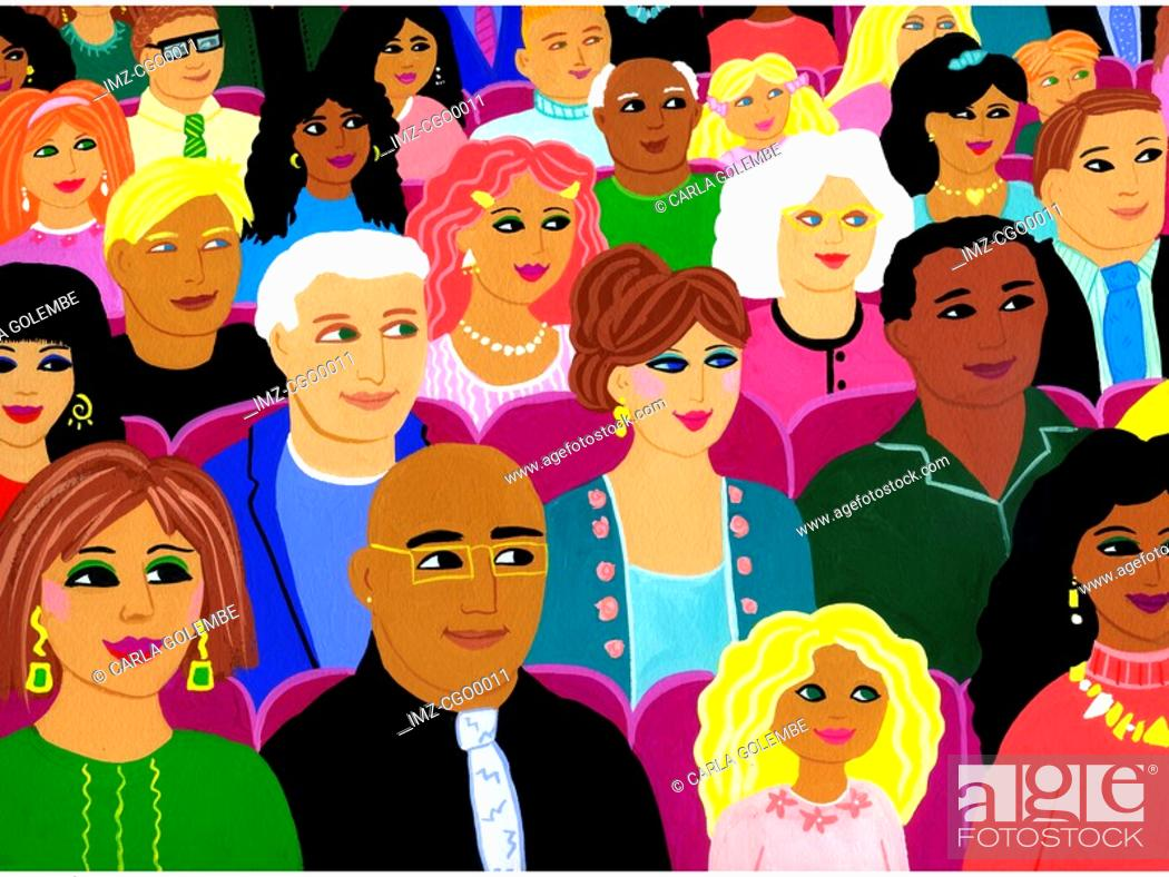 Stock Photo: A painting of a multi ethnic audience.