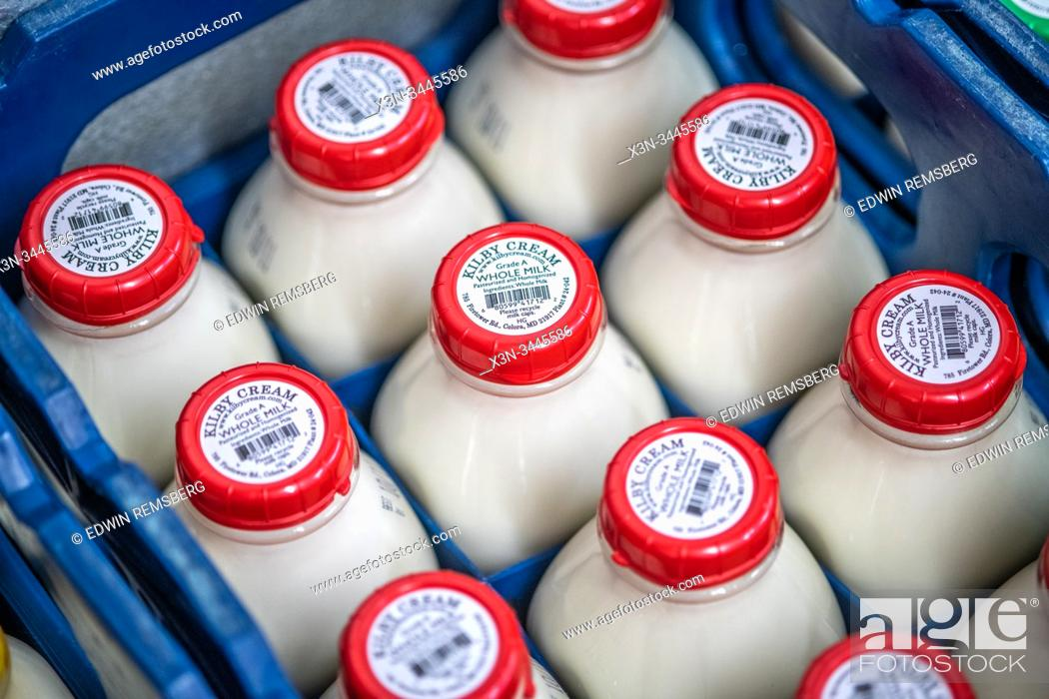 Stock Photo: Freshly sealed milk sitting neatly in crates, Colora, Maryland, USA.